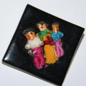 Vintage black and three women brooch